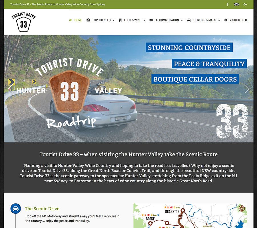 Tourist Drive 33, WordPress website created by Rapid Websites