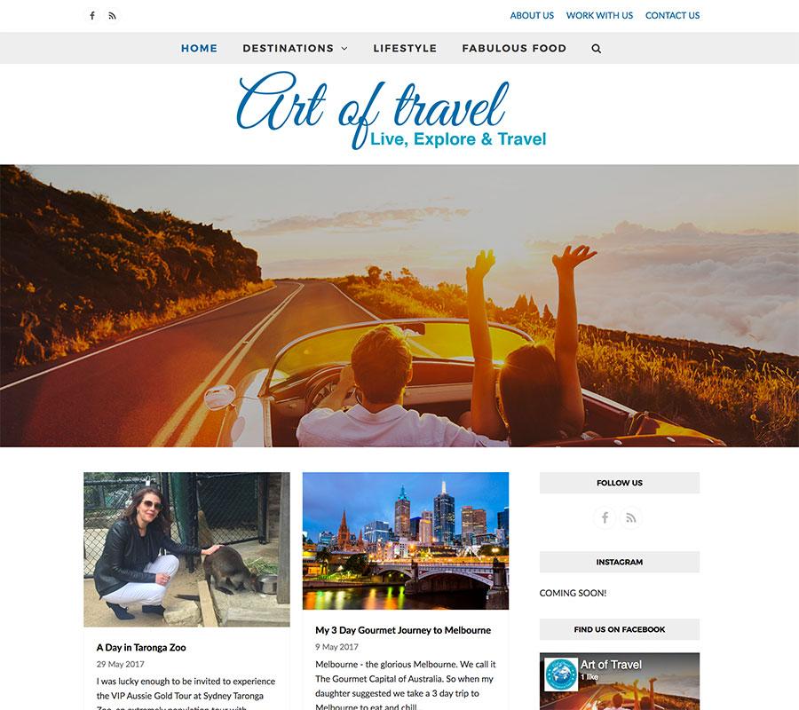 Art of Travel, WordPress website created by Rapid Websites